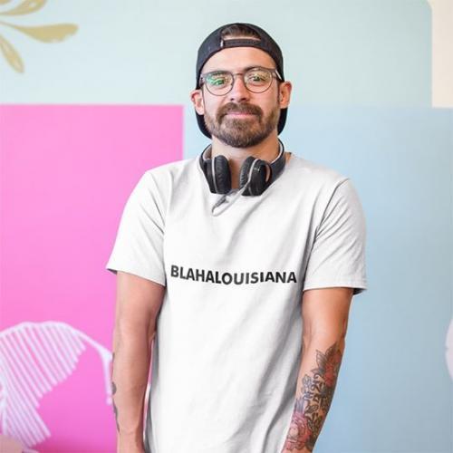 Blahalouisiana - Fehér unisex póló fekete felirattal