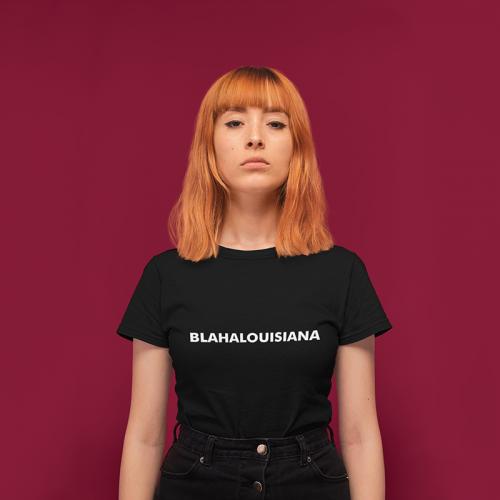 Blahalouisiana - Fekete női póló fehér felirattal - Gold Record