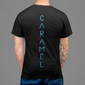 Caramel - Kék mintás fekete férfi póló