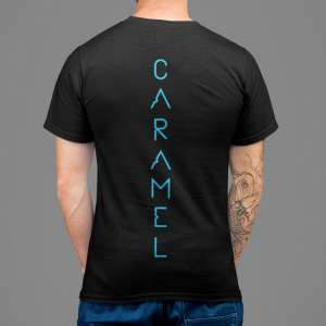 Caramel - Black T-shirt for men with blue print