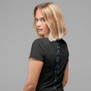 Caramel - Kék mintás fekete női póló