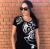 BRAINS - Női fekete logós póló